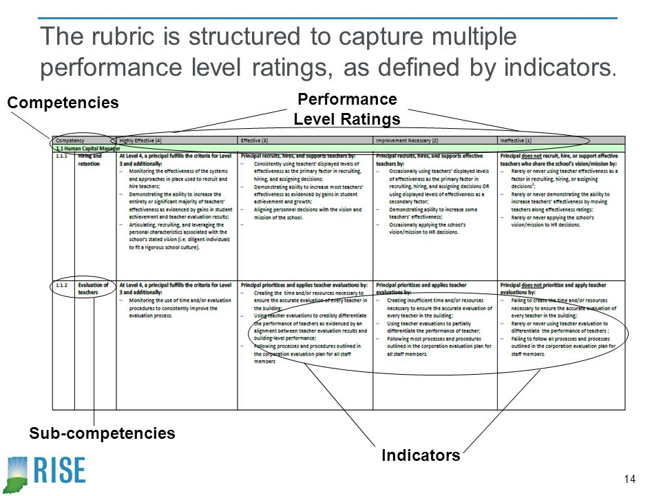 The rubric is structured to capture multiple performance level ratings, as defined by indicators.