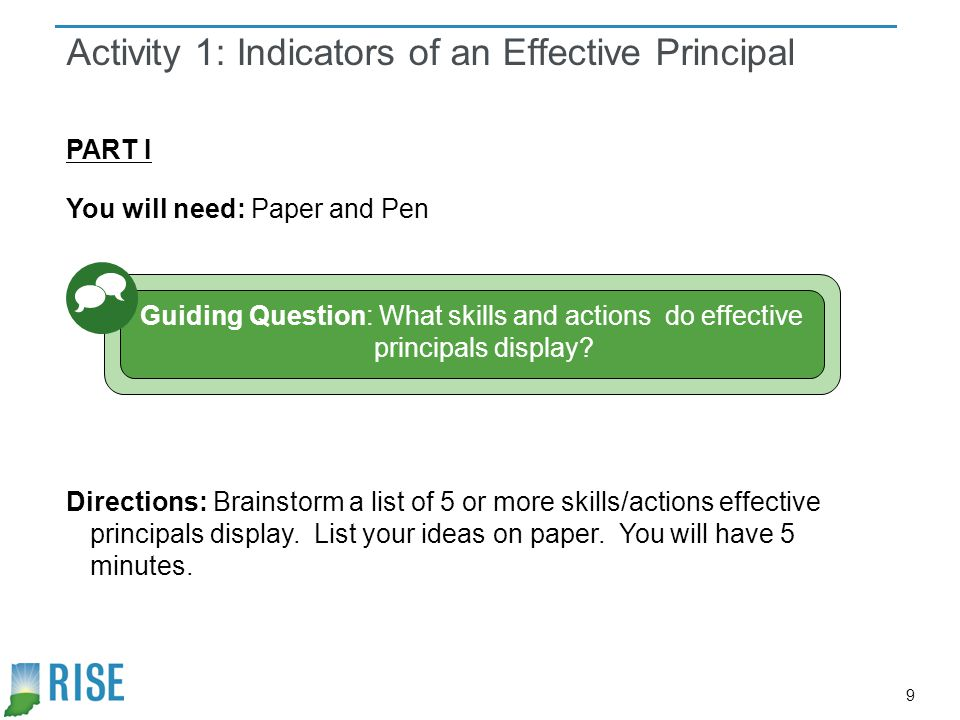 Activity 1: Indicators of an Effective Principal