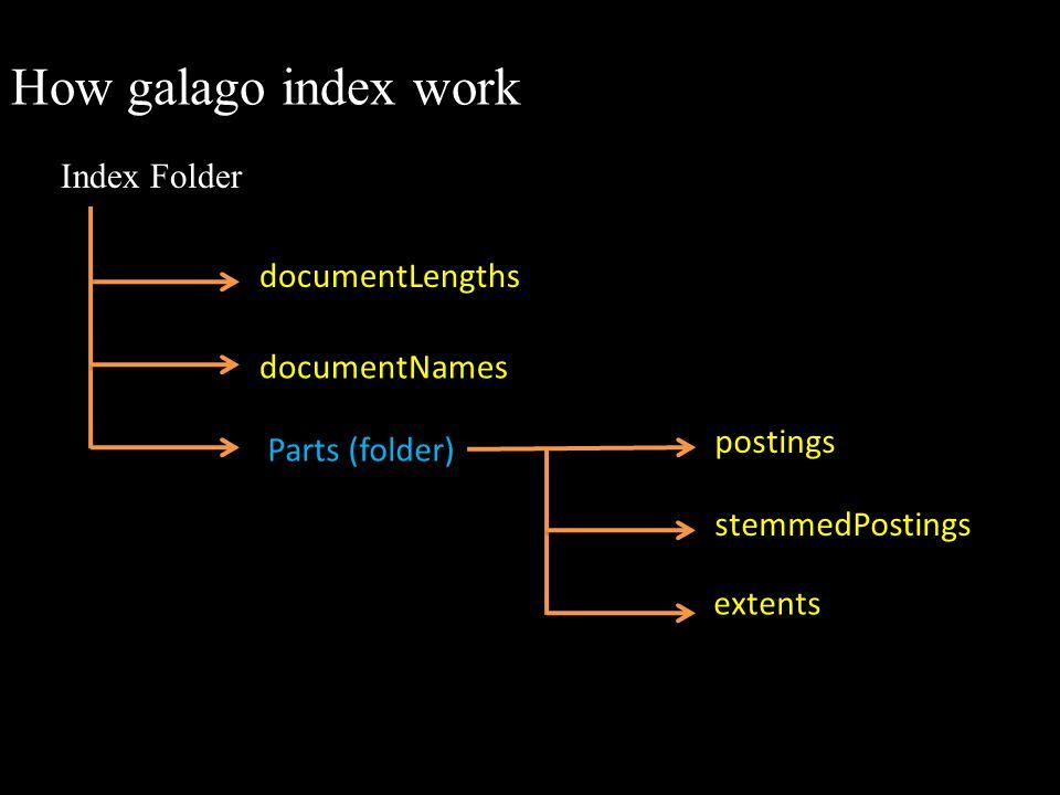 How galago index work Index Folder documentLengths documentNames