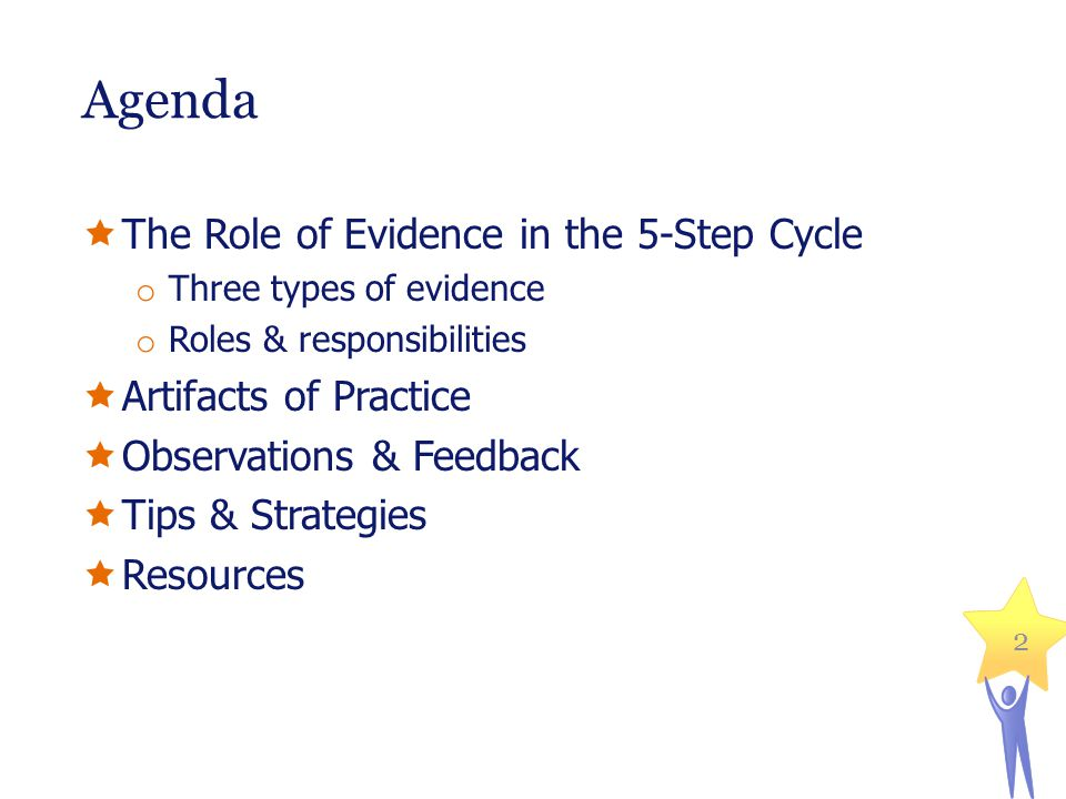 Agenda The Role of Evidence in the 5-Step Cycle Artifacts of Practice