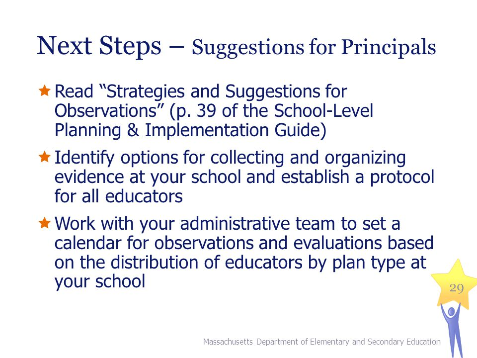 Next Steps – Suggestions for Principals