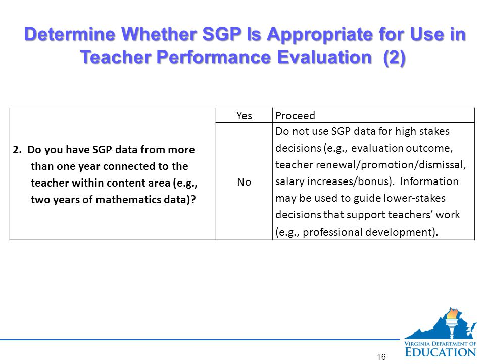 Determine Whether SGP Is Appropriate for Use in Teacher Performance Evaluation (3)