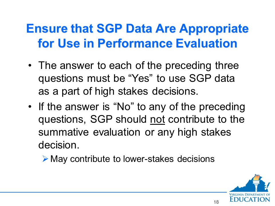 Checklist to Determine Whether SGP Data May Appropriately Contribute to Performance Evaluation