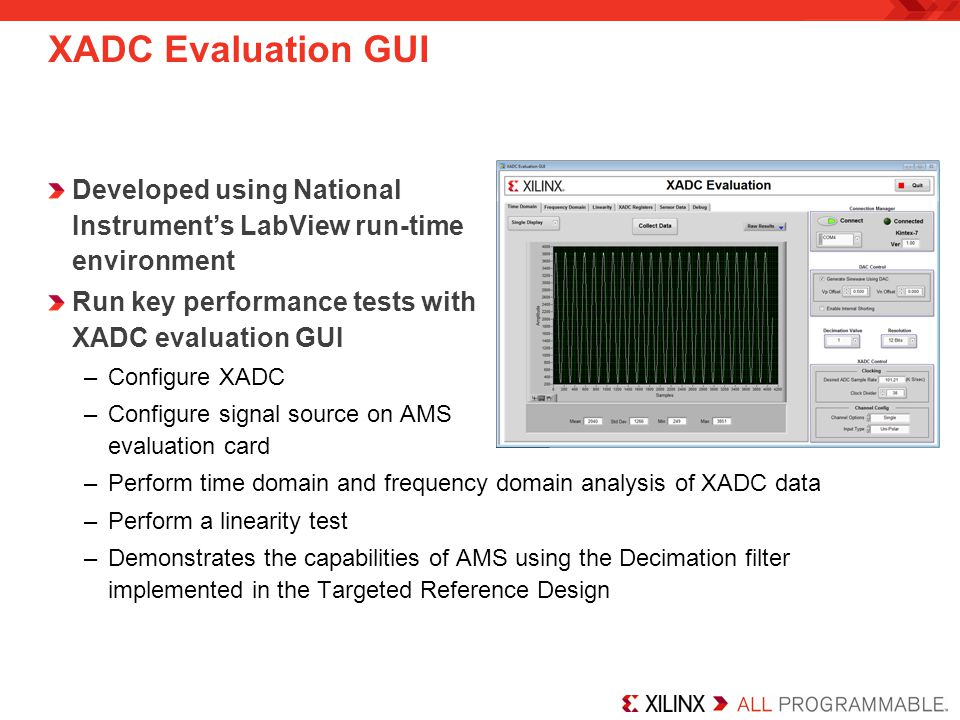 XADC Evaluation GUI Developed using National Instrument's LabView run-time environment. Run key performance tests with XADC evaluation GUI.