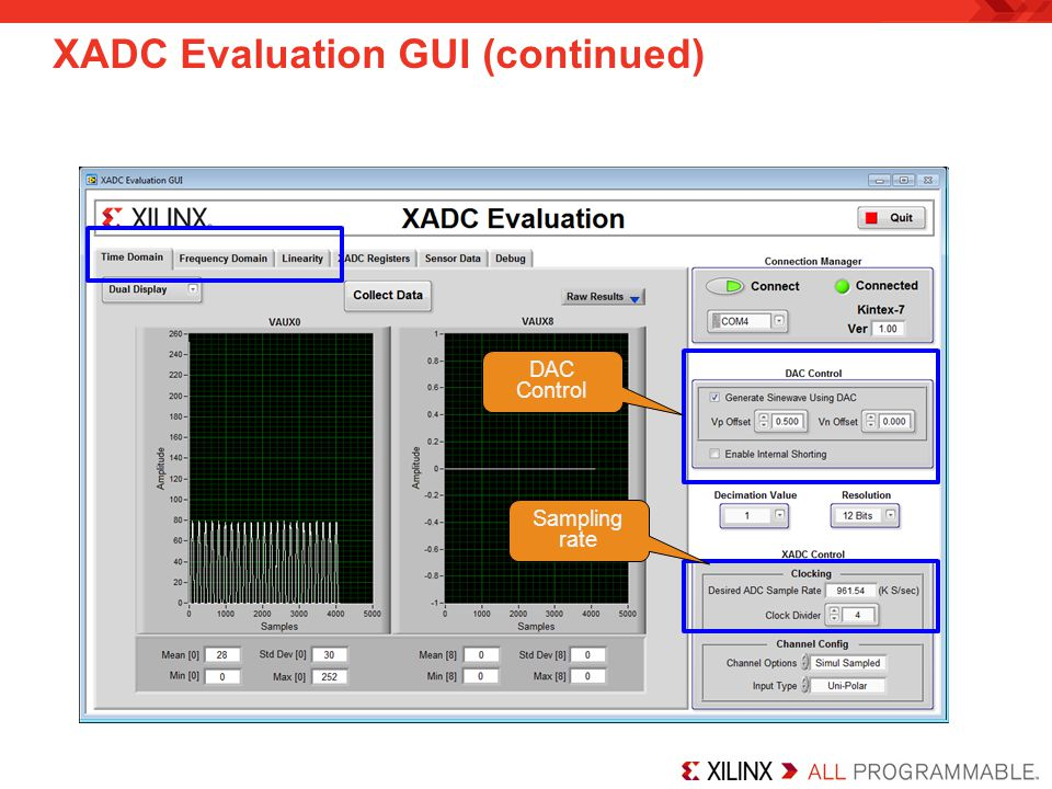 XADC Evaluation GUI (continued)