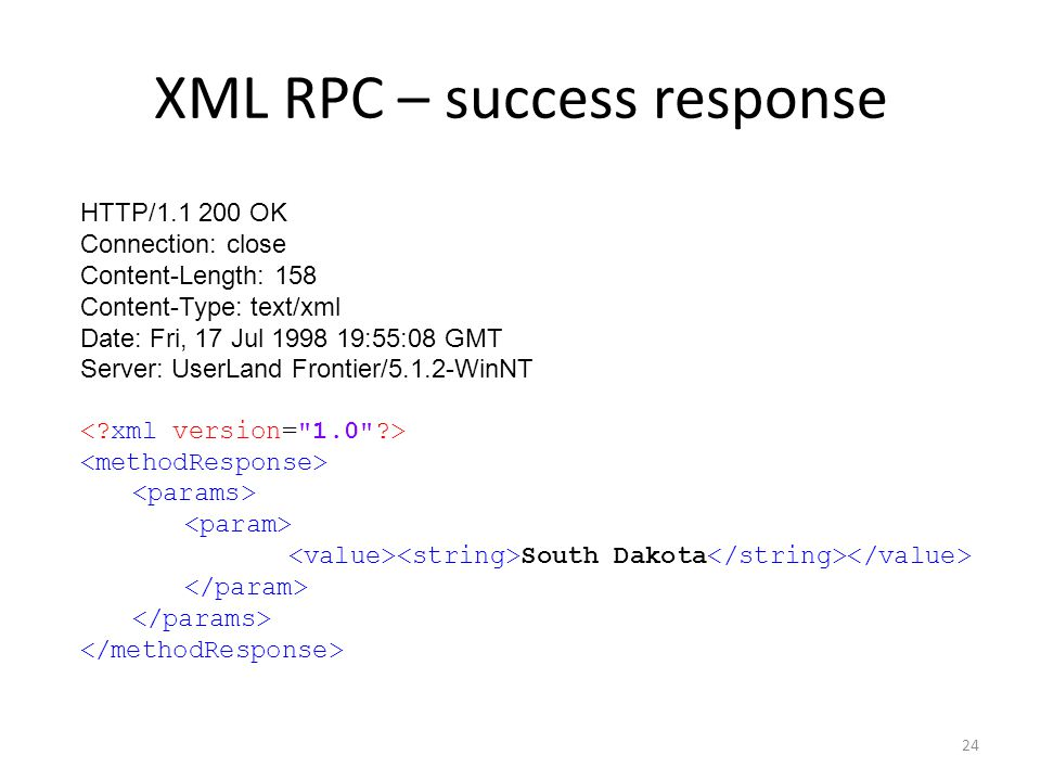 XML RPC – success response