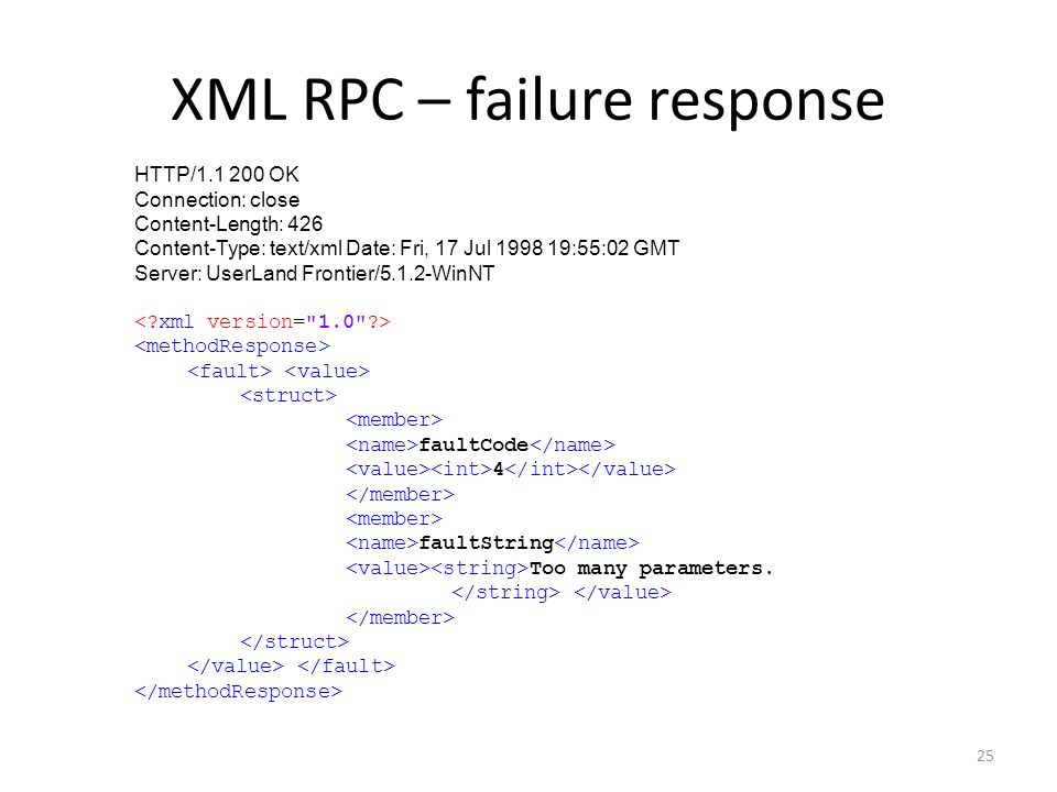 XML RPC – failure response