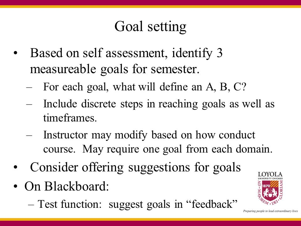 Goal setting Based on self assessment, identify 3 measureable goals for semester. For each goal, what will define an A, B, C