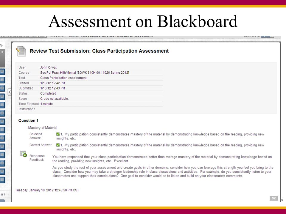Assessment on Blackboard