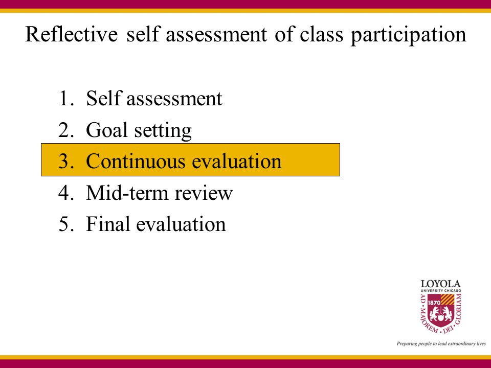 Reflective self assessment of class participation