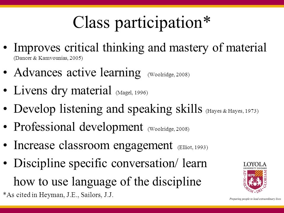 Class participation* Improves critical thinking and mastery of material (Dancer & Kamvounias, 2005)