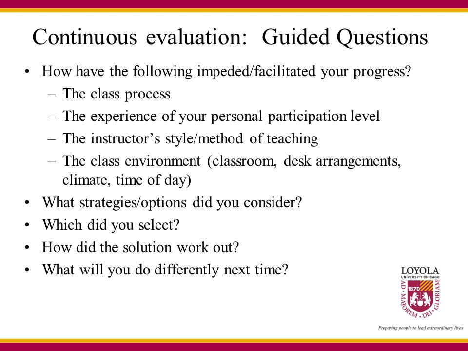 Continuous evaluation: Guided Questions