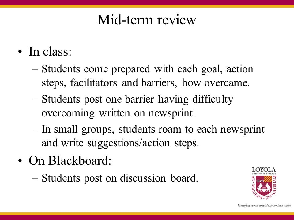 Mid-term review In class: On Blackboard: