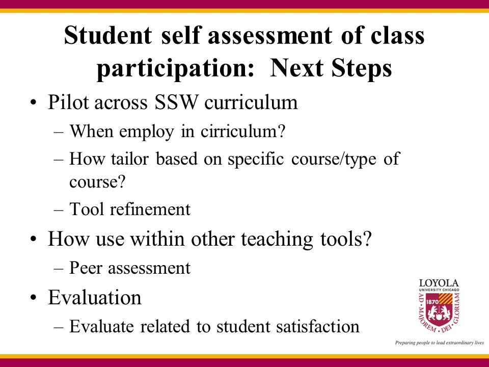 Student self assessment of class participation: Next Steps