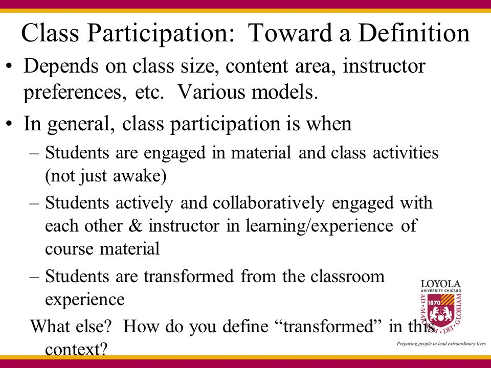 Class Participation: Toward a Definition
