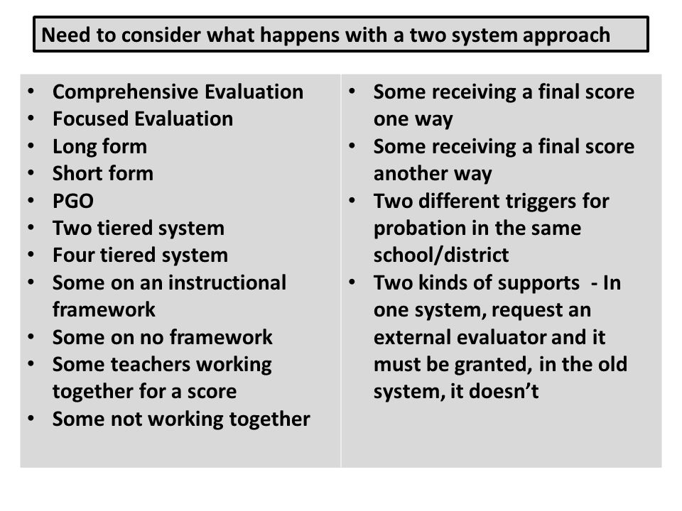 Need to consider what happens with a two system approach
