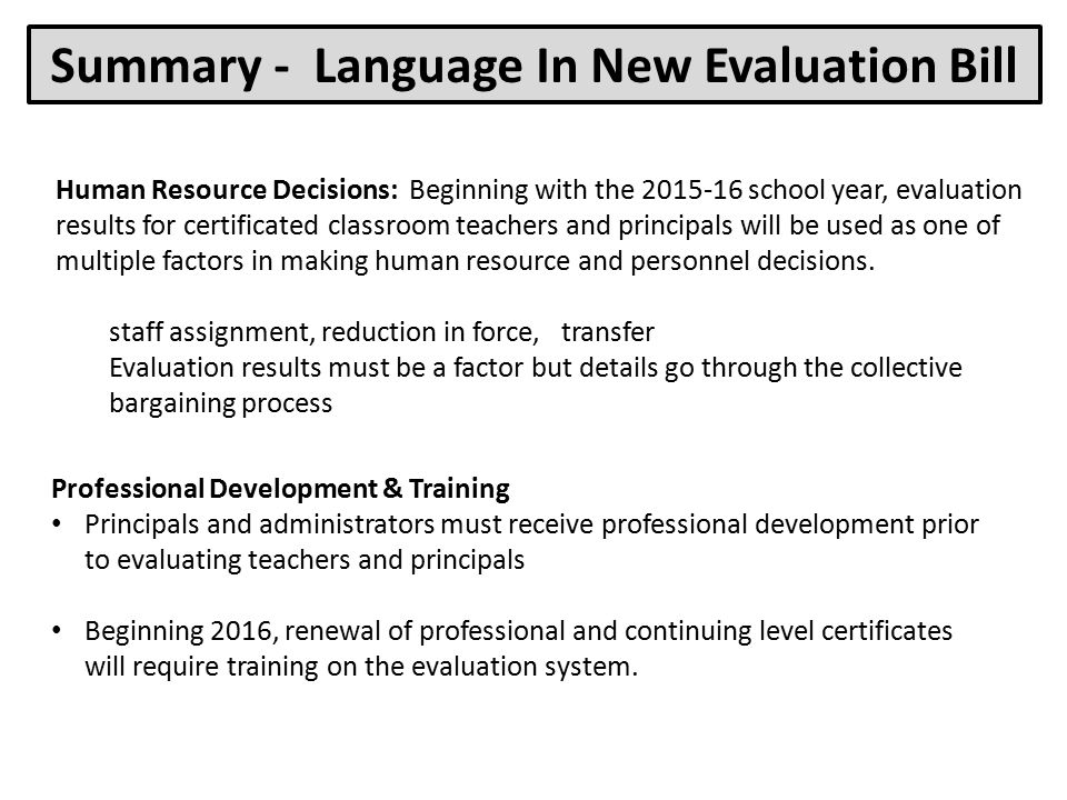 Summary - Language In New Evaluation Bill