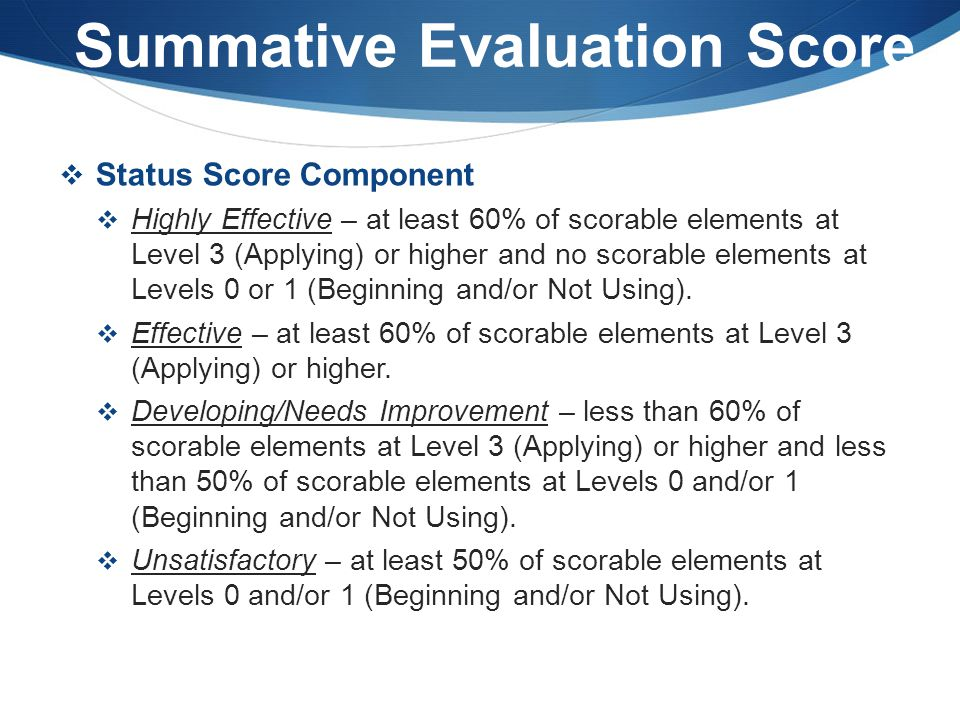 Summative Evaluation Score