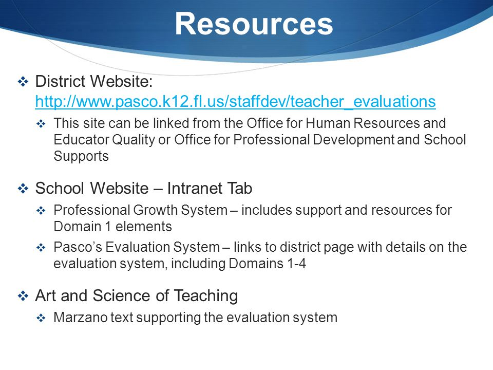 Resources District Website: