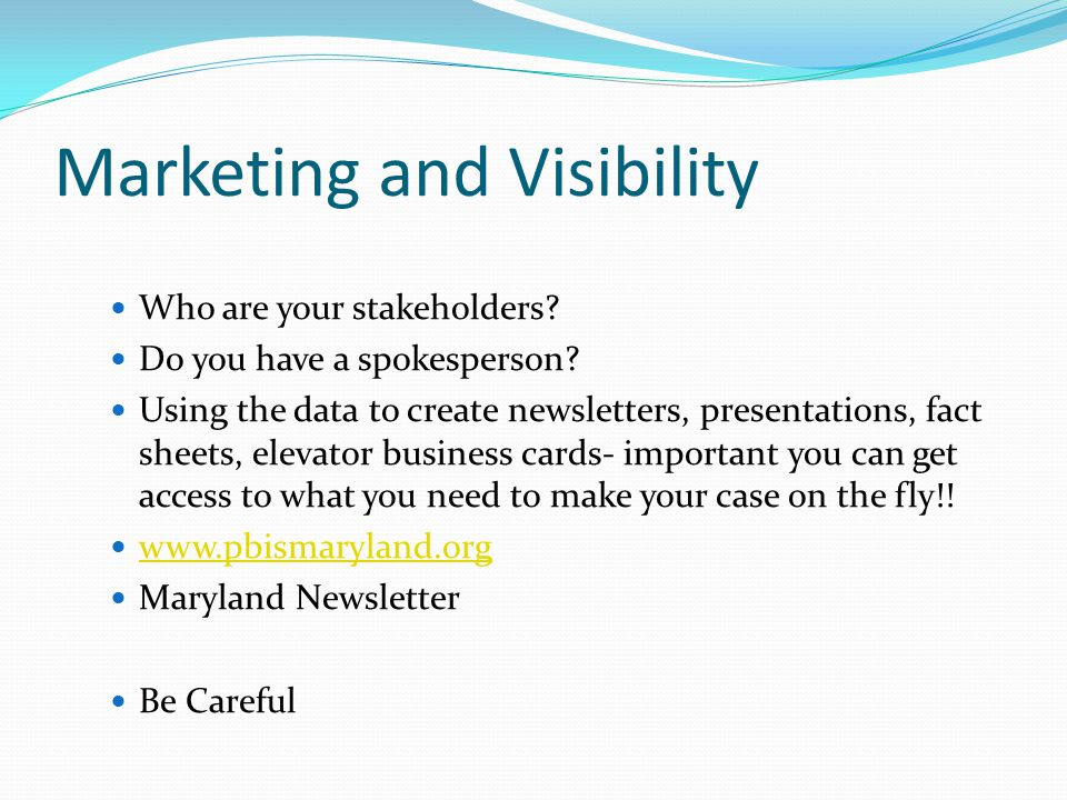 Marketing and Visibility