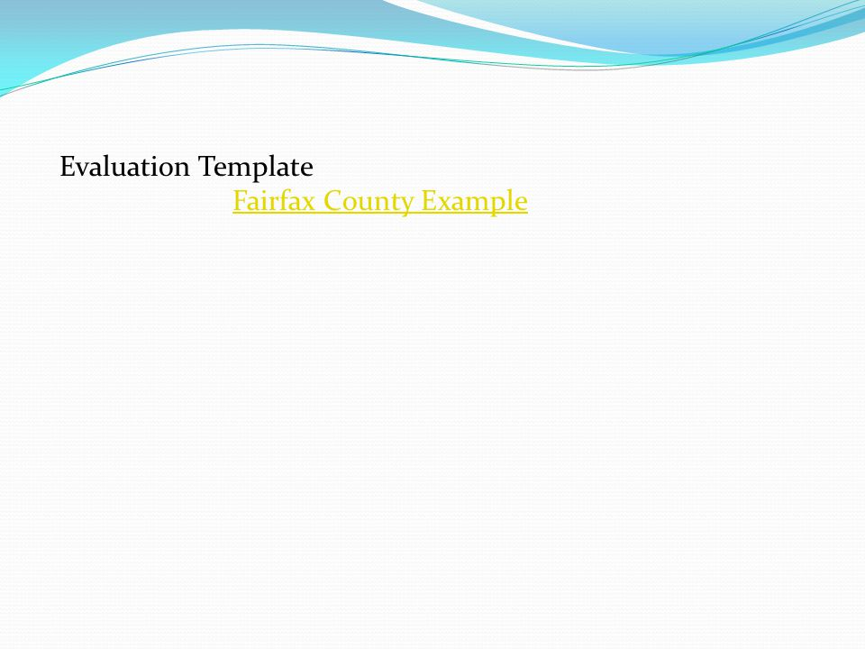 Evaluation Template Fairfax County Example