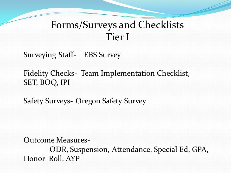 Forms/Surveys and Checklists