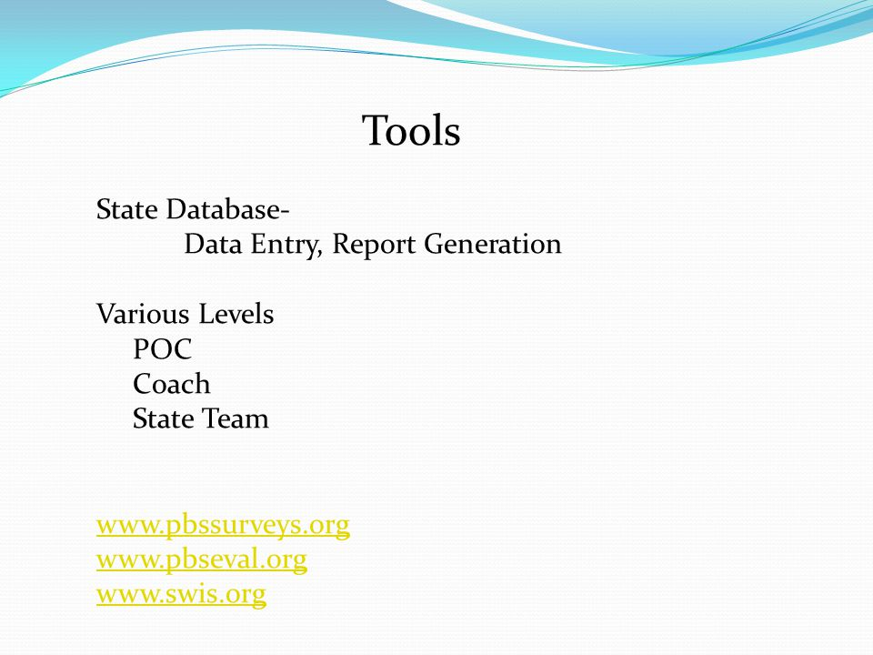 Tools State Database- Data Entry, Report Generation Various Levels POC