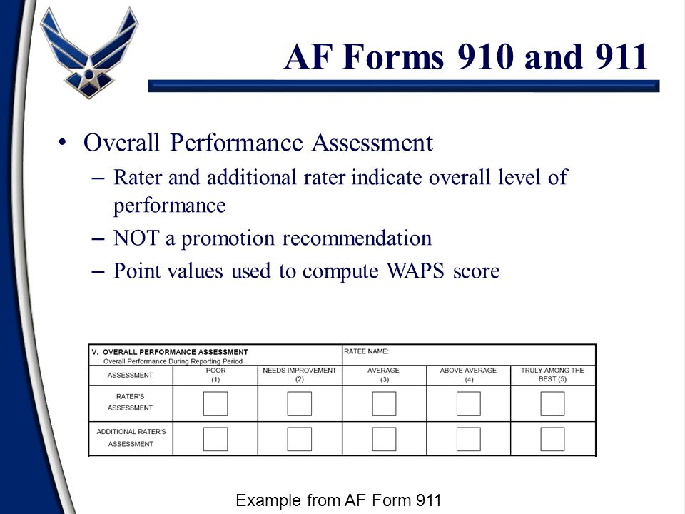 AF Forms 910 and 911 Overall Performance Assessment