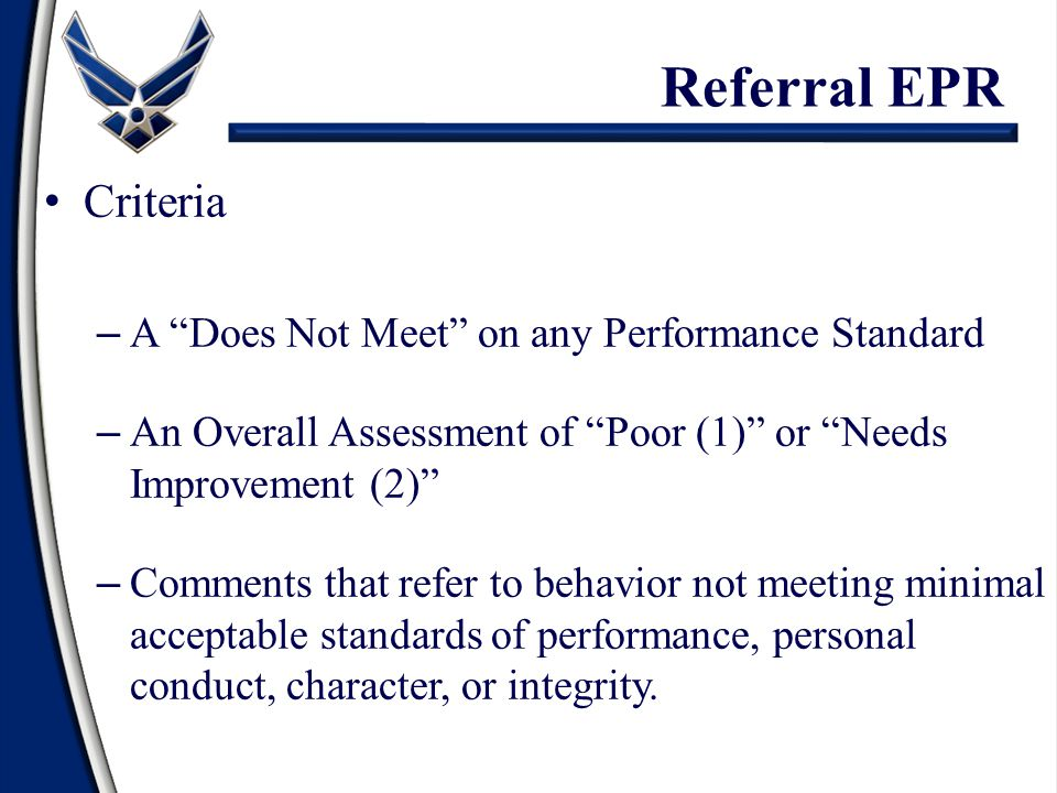 Referral EPR Criteria A Does Not Meet on any Performance Standard