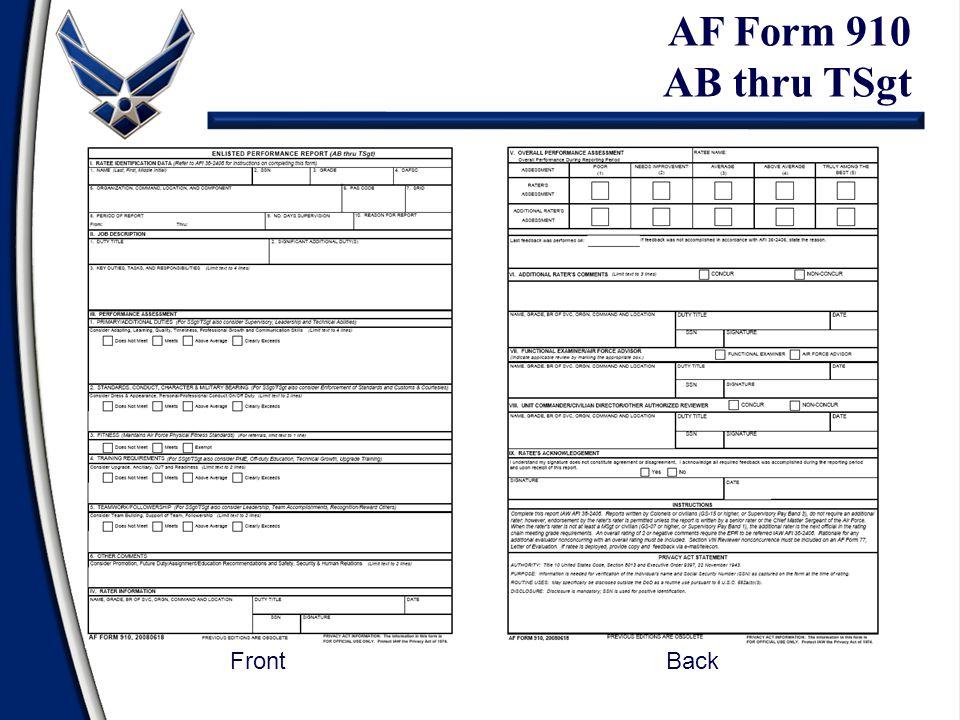 AF Form 910 AB thru TSgt Front Back