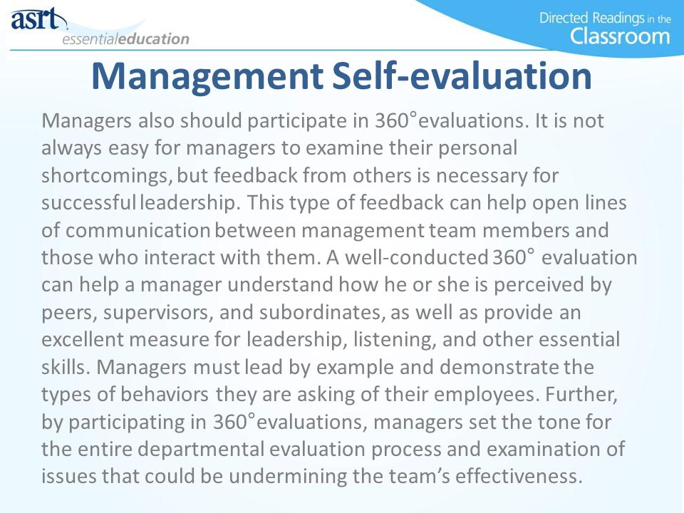 Management Self-evaluation