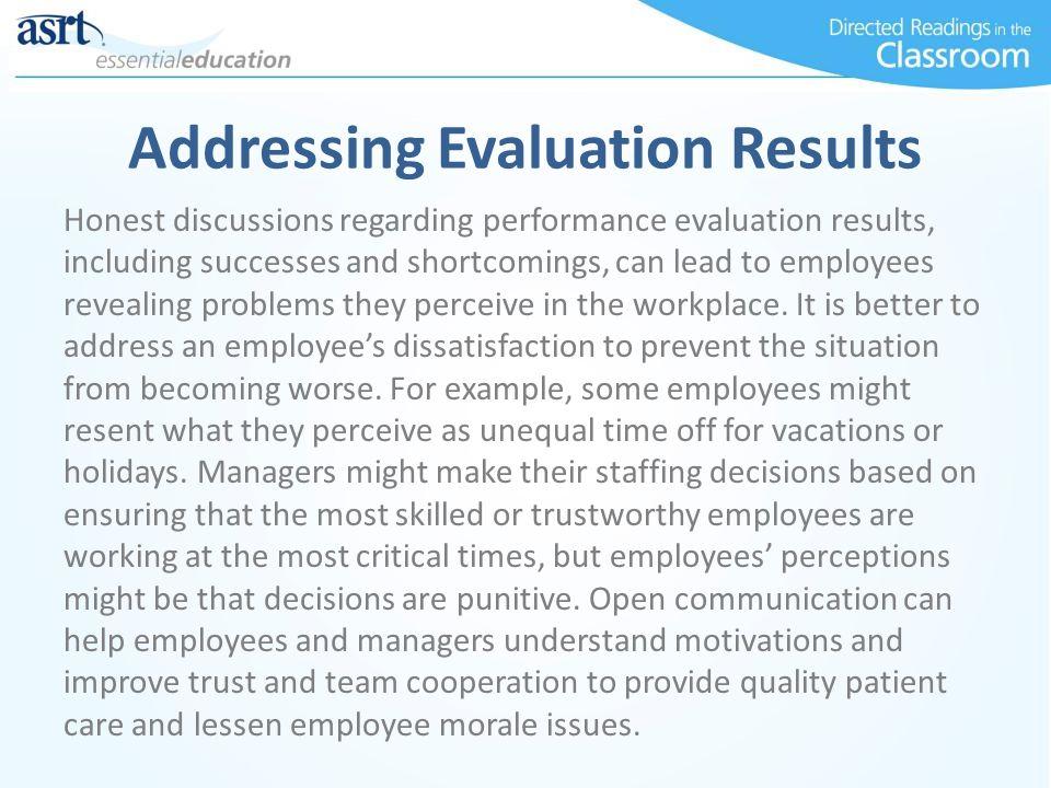Addressing Evaluation Results