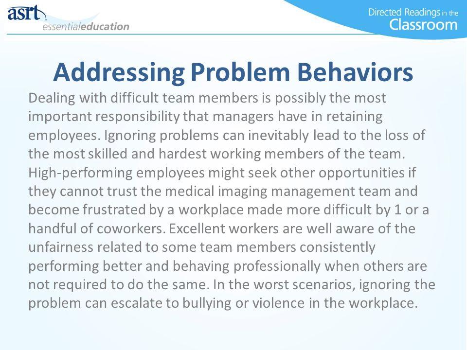 Addressing Problem Behaviors