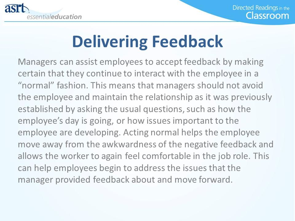 Delivering Feedback