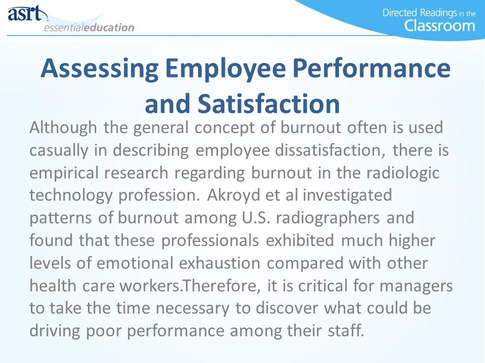 Assessing Employee Performance and Satisfaction