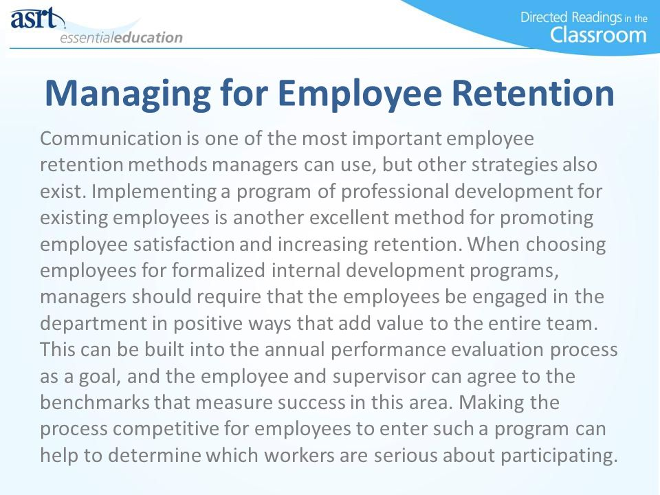 Managing for Employee Retention