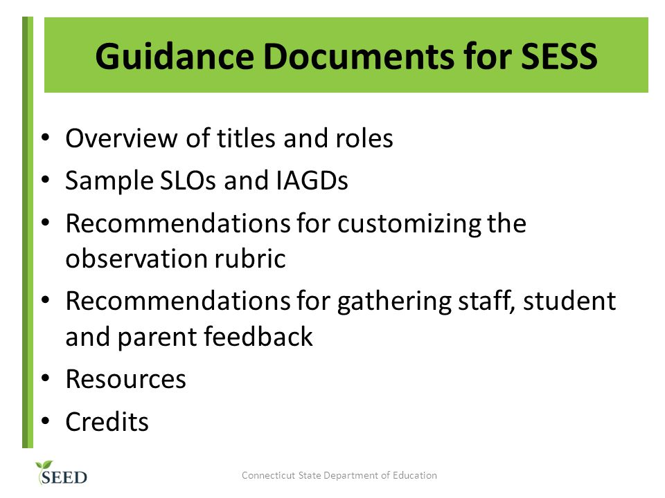 Guidance Documents for SESS