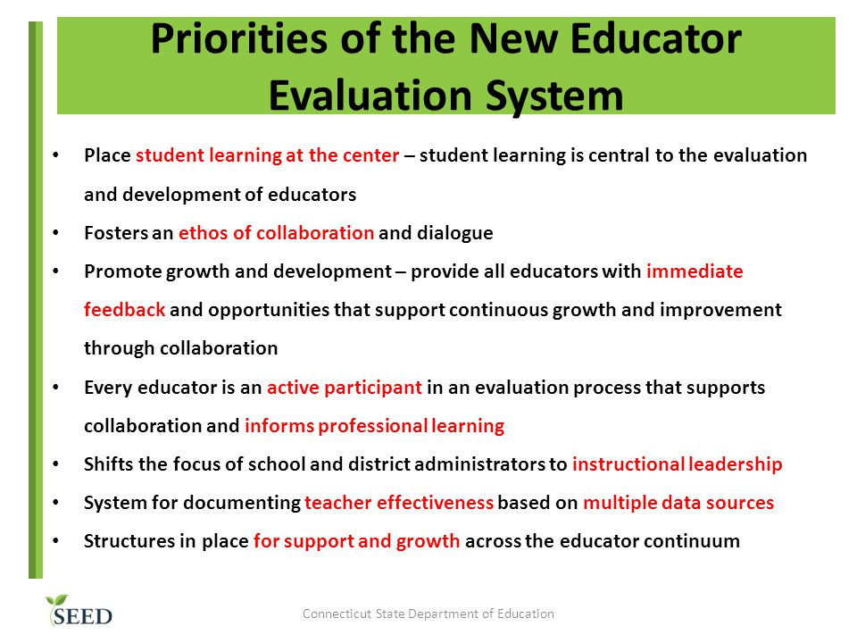 Priorities of the New Educator Evaluation System