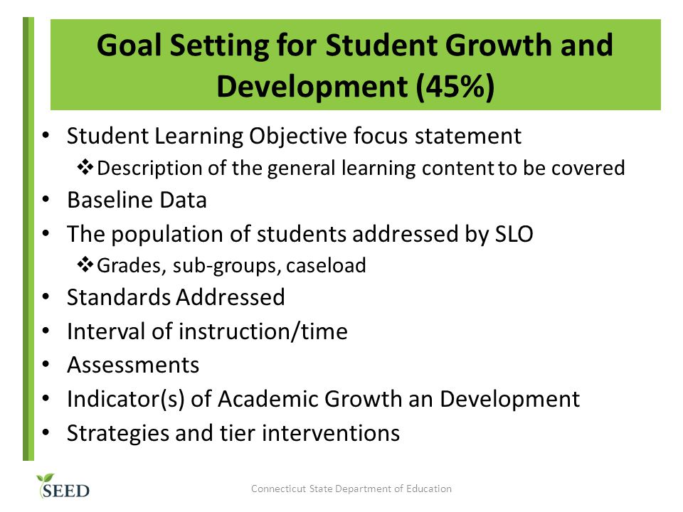 Goal Setting for Student Growth and Development (45%)