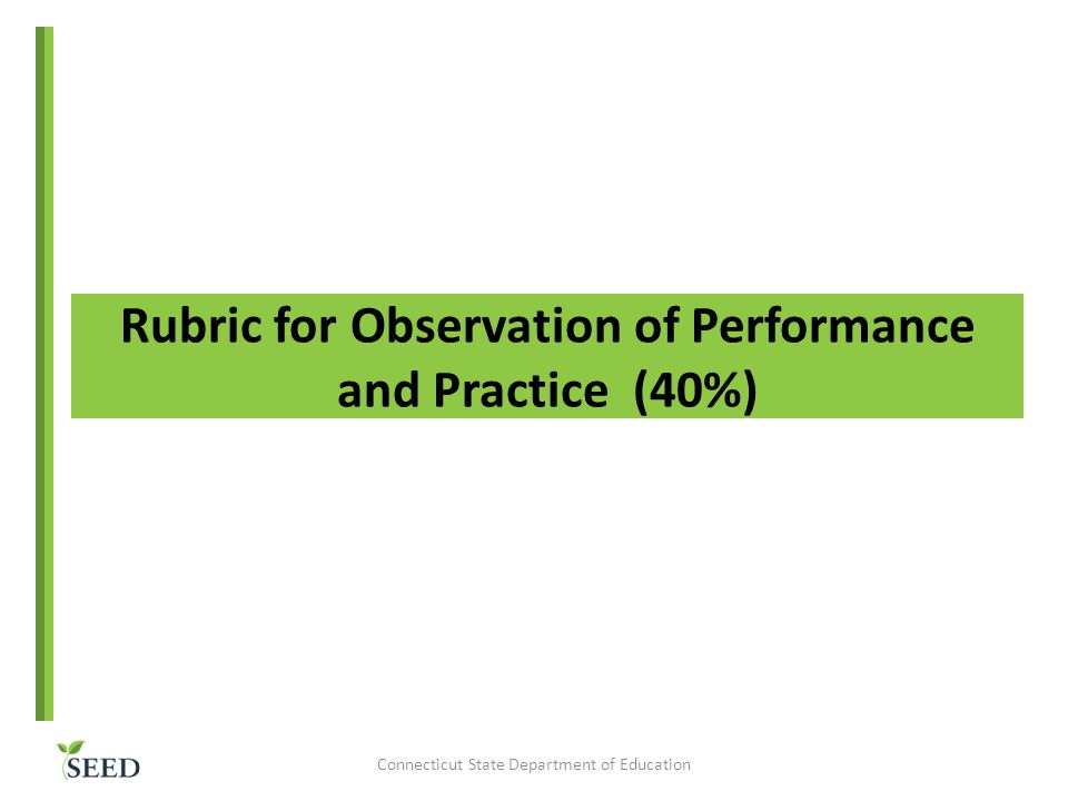 Rubric for Observation of Performance and Practice (40%)