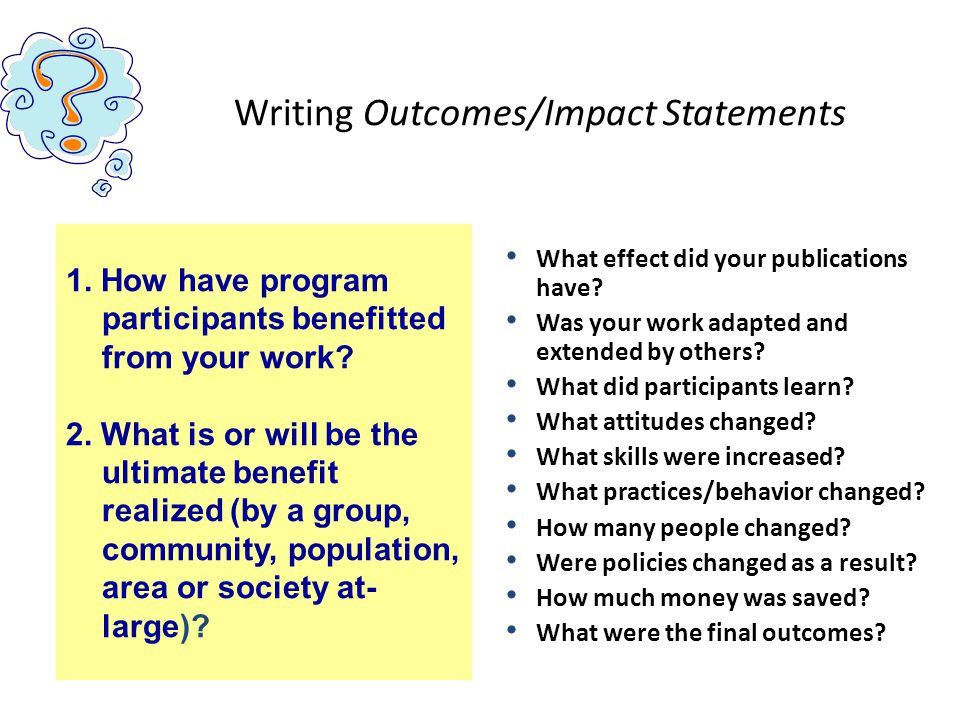 Writing Outcomes/Impact Statements