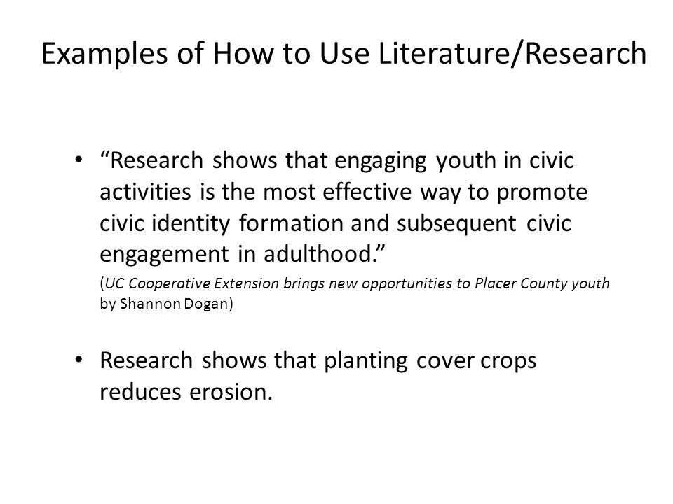 Examples of How to Use Literature/Research