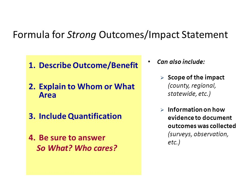 Formula for Strong Outcomes/Impact Statement