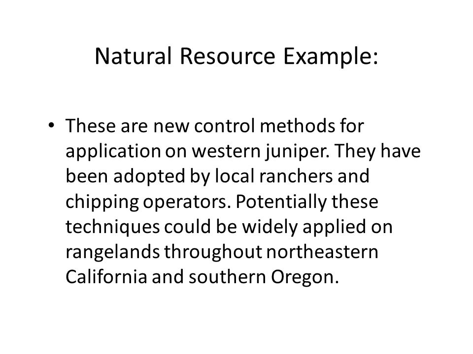 Natural Resource Example: