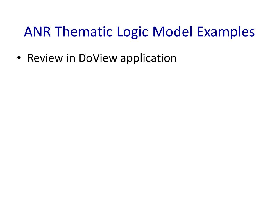 ANR Thematic Logic Model Examples