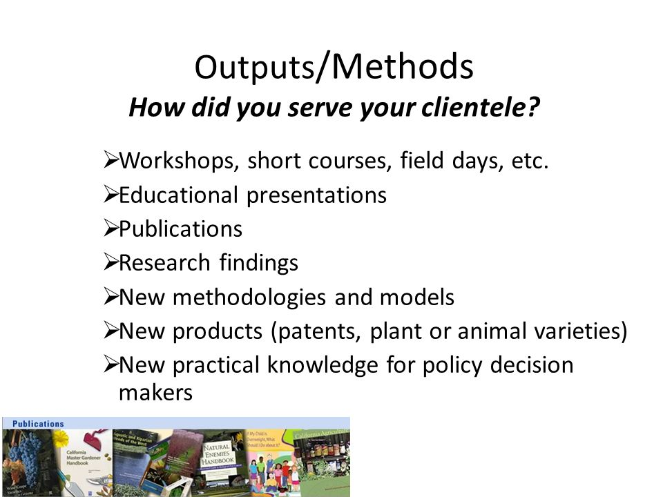 Outputs/Methods How did you serve your clientele