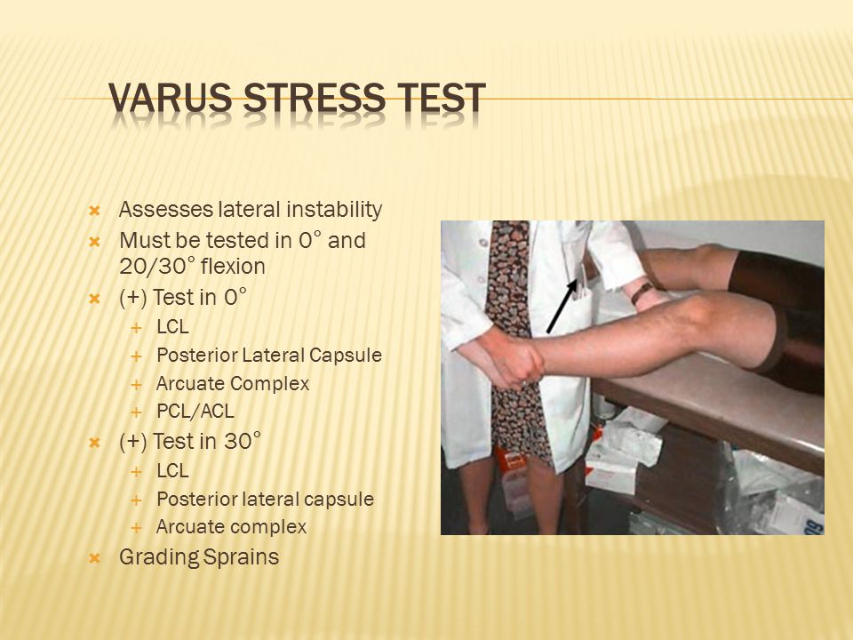 Varus Stress Test Assesses lateral instability