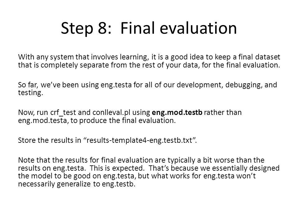 Step 8: Final evaluation