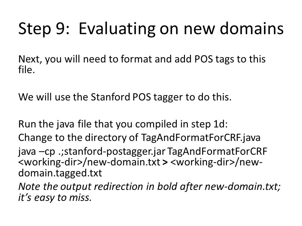 Step 9: Evaluating on new domains