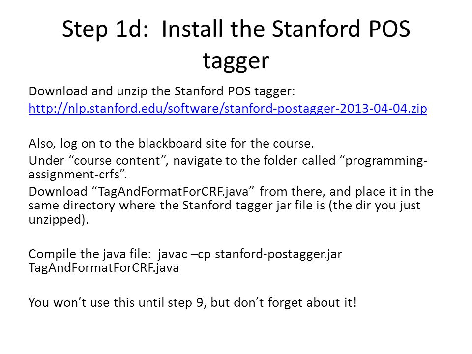 Step 1d: Install the Stanford POS tagger